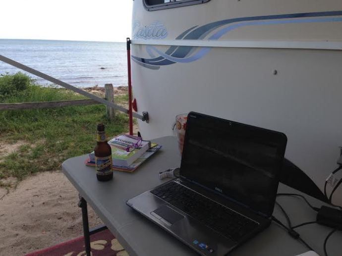 Blogging by the ocean - not too shabby a set up!