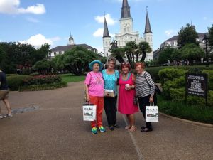 "The ""girls"" in front of St. Louis Cathedral on Jackson Square"