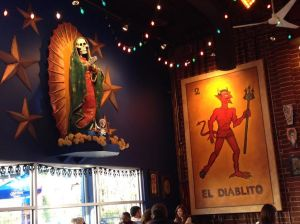 Authentic Mexican food & Day of the Dead decor