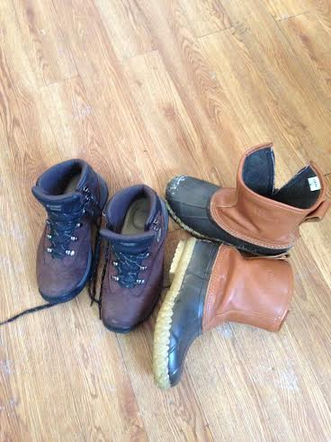 Water proof snow boots and leather hiking boots