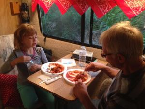 Inside dining for two - granddaughter & Grampy