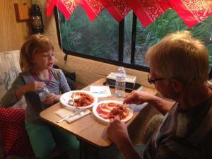 Inside dining for two - granddaughter & Grampy