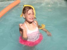 First you eat bananas in the pool